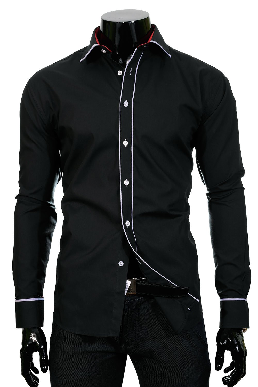c3c9b46c14 BP 56O Černá pánská košile Černá | Košile dlouhý rukáv \ Košile pro ...