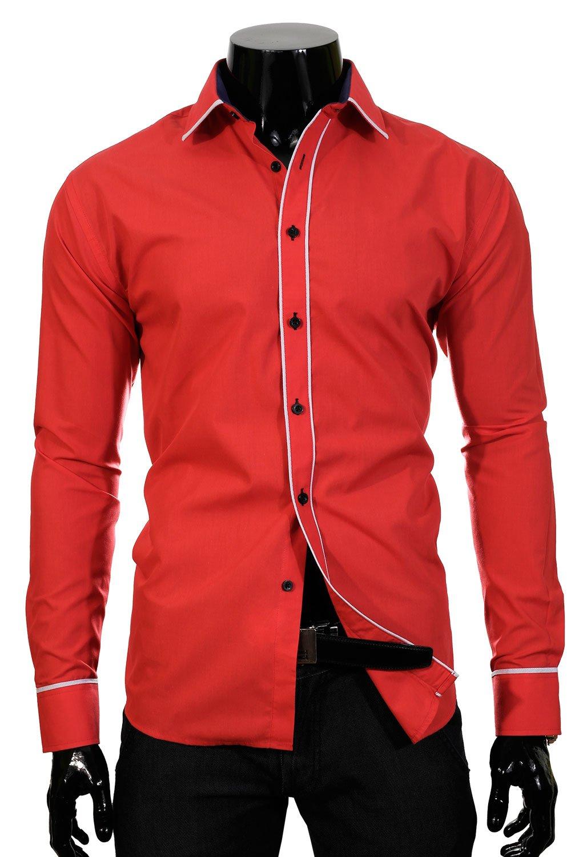 f7d1b376643 Pánská jednobarevná košile s dlouhým rukávem. BP 56O Červená pánská košile  Klikněte pro ...