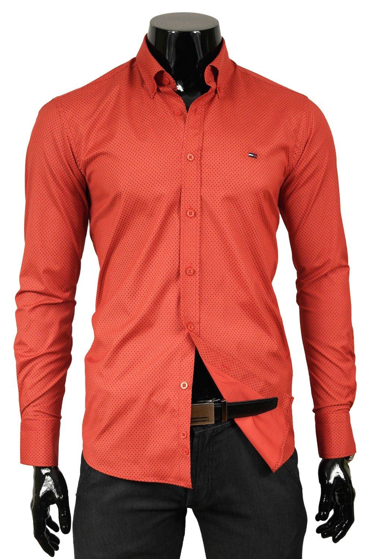 6667f8e57cc Červená pánská vzorovaná košile Tommy Hilfiger TM-20 Odstín červené ...