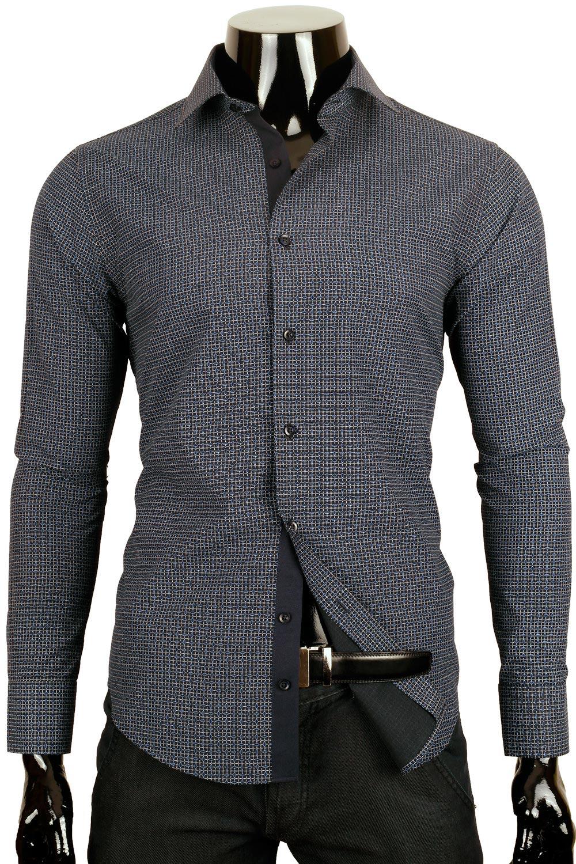 Tmavě modrá košile s drobným vzorem BR18 Odstín modré.  8bbbab91be